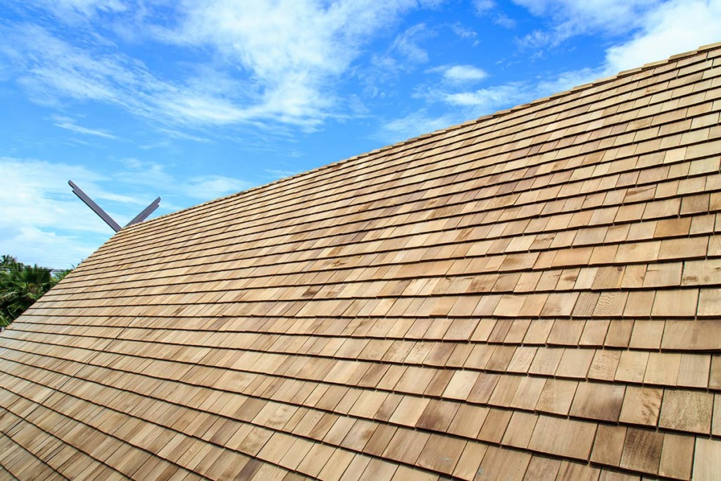 Cedar roof on house