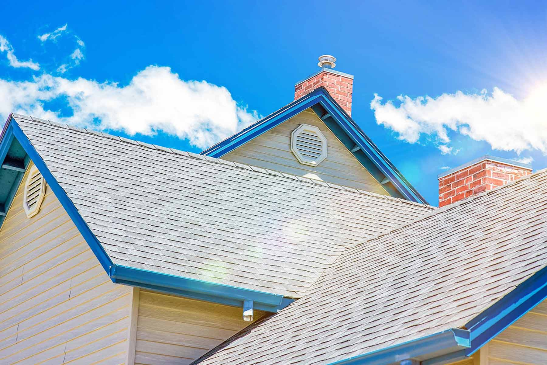 Roof with blue trim